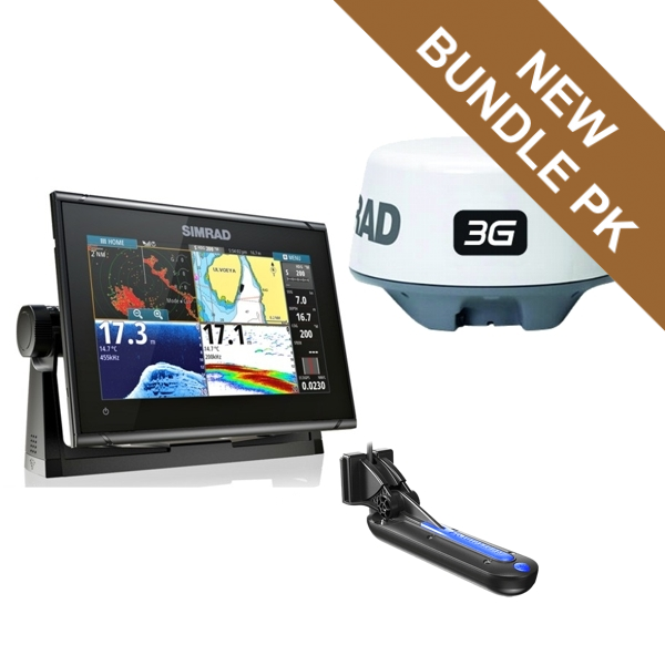 Simrad GO9 XSE TotalScan 9Inch Multi-touch Chart Plotter With TotalScan TR PLUS 3G Radar Bundle Pack