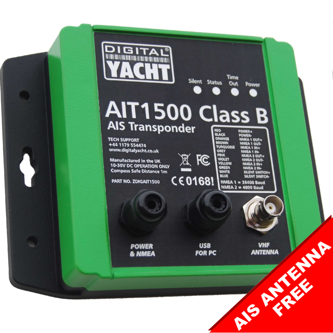 Digital Yacht AIT1500 Class B AIS Transponder With Int GPS Ant (NMEA 2000)