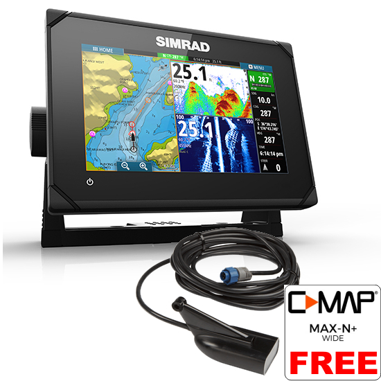 Simrad GO7 XSE Med/hi/Dwnscn 7Inch Multi-touch Chart Plotter With Echosounder And Transom Transducer