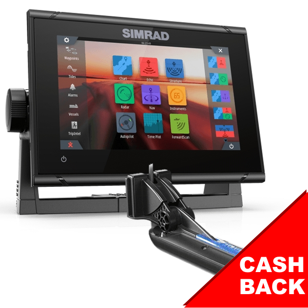 Simrad GO7 XSR 7-inch Chartplotter and Radar Display With Global Basemap And Transom Totalscan Transducer
