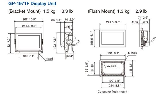 8 - 9 Inch Displays: Furuno GP-1971F 9 Inch Plotter / Sounder (GP-1971F)