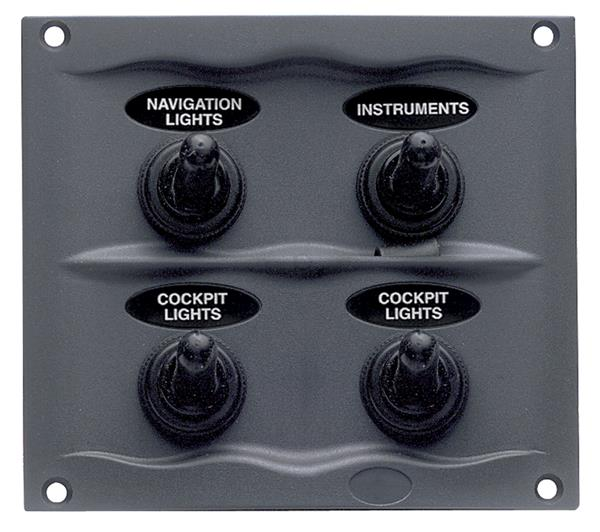 BEP Compact Marine Waterproof Panel  4 Switch Blk (900-4WP)