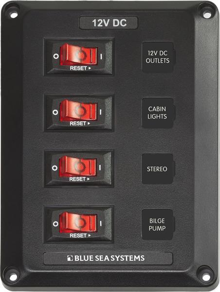 Blue Sea Panel Below Deck 12v Dc Cb 4 Pos