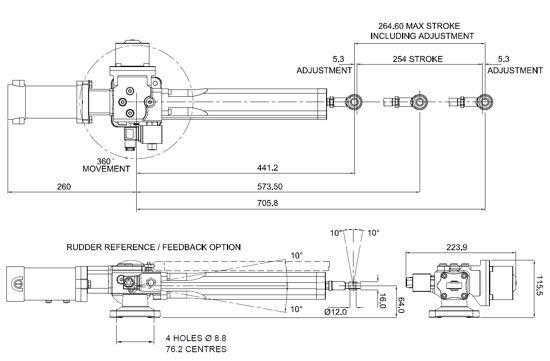 B&G Hydraulic RAM T1 12v Dimensions