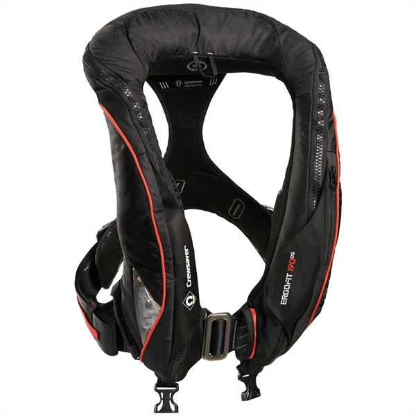 Crewsaver ErgoFit 190N Offshore - Automatic With Harness - Light & Hood - Black