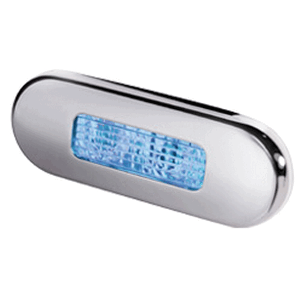 Hella LED Step Light Blue Stainless Steel Rim