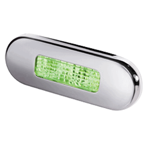 Hella LED Step Light Green Stainless Steel Rim
