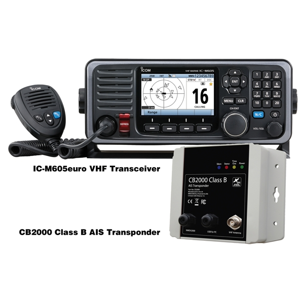 Icom M605 Euro Fixed VHF with CB2000 Class B AIS Add On