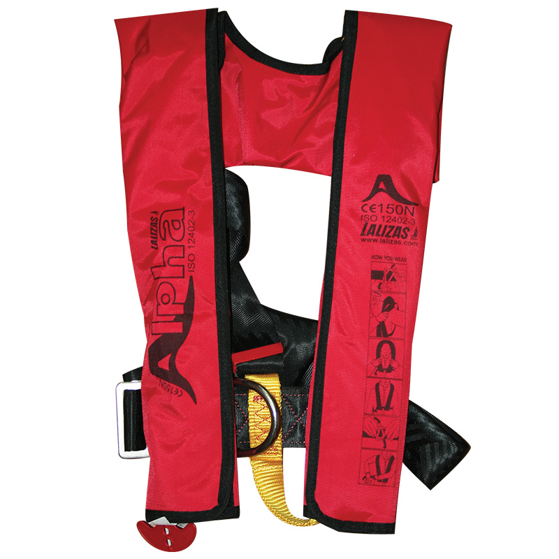 Lalizas Alpha Inflatable 170N Lifejacket Automatic - Red With Harness