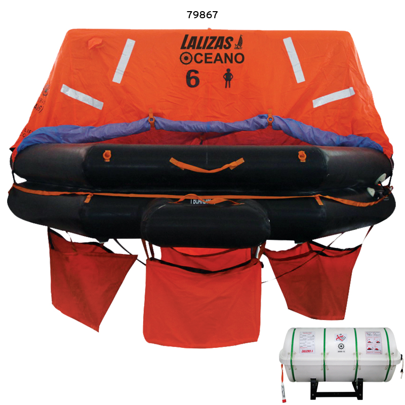 """lalizas Liferaft Solas Oceano, Throw Over-board Type,10 Prs. Canister (a)"""