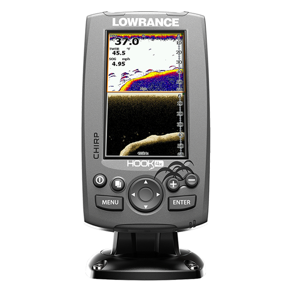 Lowrance Hook-4 Mid/High Range Chirp / DownScan Fishfinder / Chart Plotter with TR
