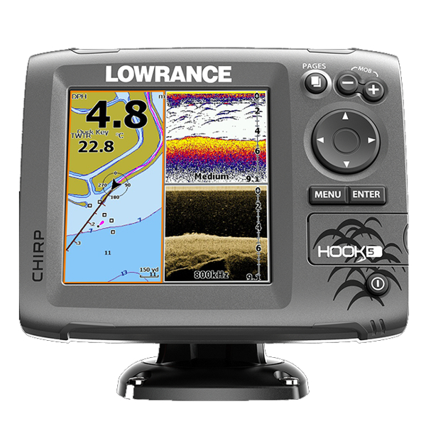 Lowrance Hook-5 Plotter / Sounder With Mid/High Range Chirp Transom Transducer