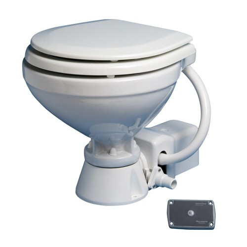 Matromarine Ocean Electric Toilet 12V Wooden Seat White