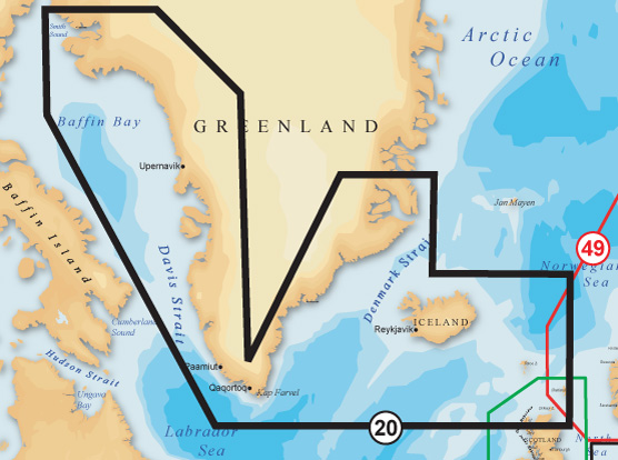 Navionics Gold XL9 SD/Micro SD Format 20X Greenland And Iceland