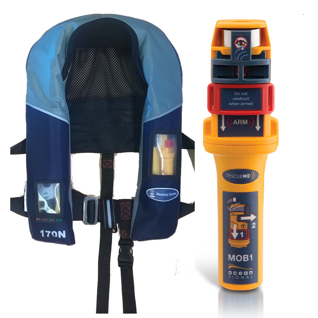Ocean Signal RescueME AIS/MOB1 Plus Lifejacket 170N, blue/grey nylon