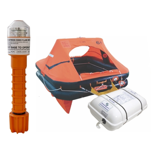 Ocean Safety Charter ISO9650-1 6 Man Canister Liferaft With Odeo Flare Bundle