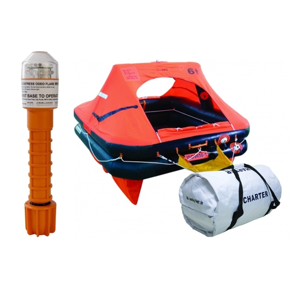 Ocean Safety Charter ISO9650-1 4 Man Valise Liferaft With Odeo Flare Bundle