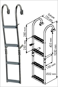 Ladder for narrow transom, 180° crook