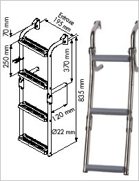 Ladder for narrow transom, 90° crook