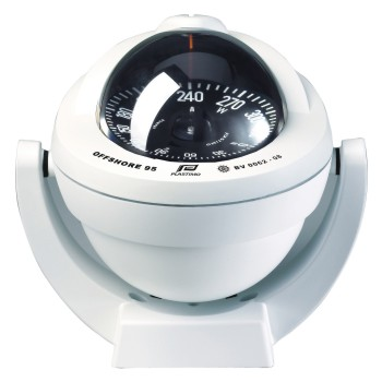 Plastimo Offshore 95 Compass White with Black Flat Card. Bracket Mount