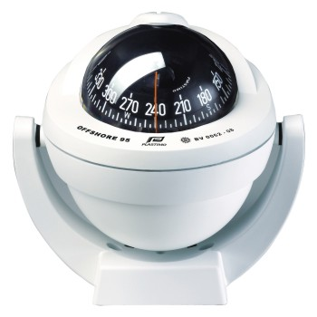 Plastimo Offshore 95 Compass White with Black Conical Card. Bracket Mount