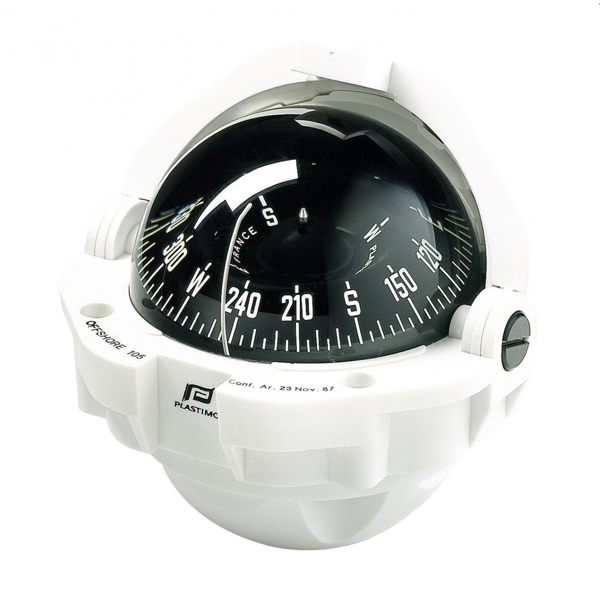 Plastimo Offshore 105 Compass White with Black Flat Card