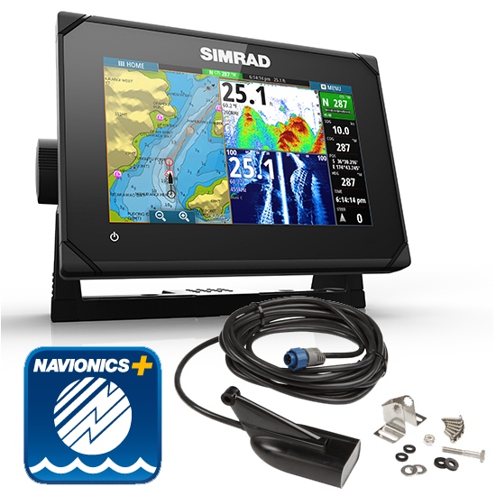 Simrad GO7 XSE Med/hi/Dwnscn 7Inch Multi-touch Chart Plotter With Echosounder And Transom Transducer Includes Navionics Plus Card