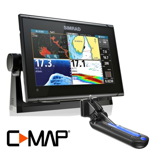 Simrad GO9 XSE TotalScan 9Inch Multi-touch Chart Plotter With Echosounder With TotalScan TR Includes C-Map MAXN Europe South