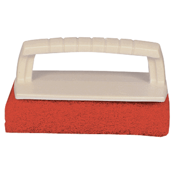 Starbrite Scrub Pad with Handle Medium Red