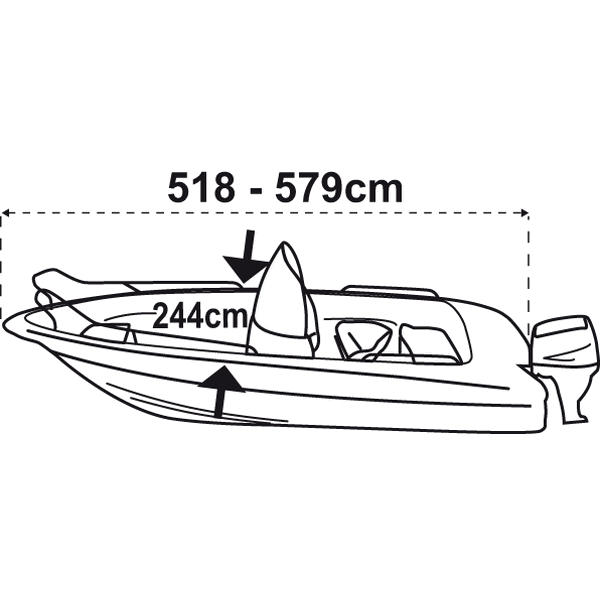 Trem Boat Cover M Silver Grey For Boat L518-579cm W244cm