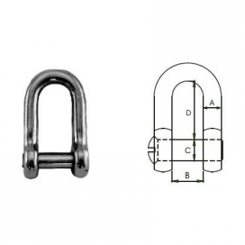 Waveline Dee Shackle with Sink Pin - S/Steel 8mm