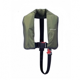 Waveline 165N ISO Olive Auto LifeJacket With Crutch Strap