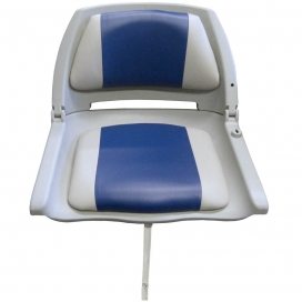 Waveline Moulded Folding Down Seat with Grey/Blue Cushion