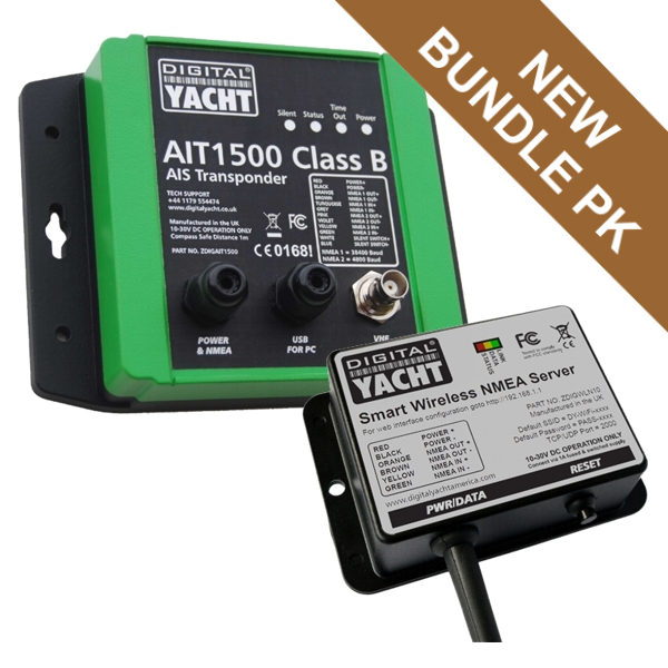 Digital Yacht AIT1500 Class B AIS Transponder With Int GPS Ant (NMEA 0183) With WLN10SM Bundle