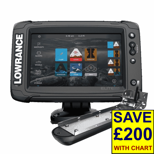 Lowrance Elite-7 Ti2 With Active Imaging 3-in-1 Transom Mounted Transducer