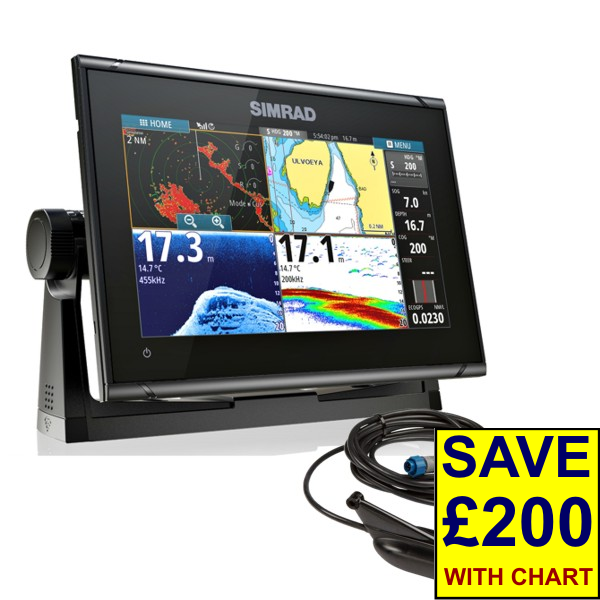 Simrad GO9 XSE Med/hi/Dwnscn 9Inch Multi-touch Chart Plotter With Echosounder And Transom Transducer
