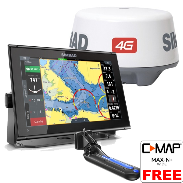 Simrad GO12 XSE With TotalScan Transducer and 4G Radar Scanner