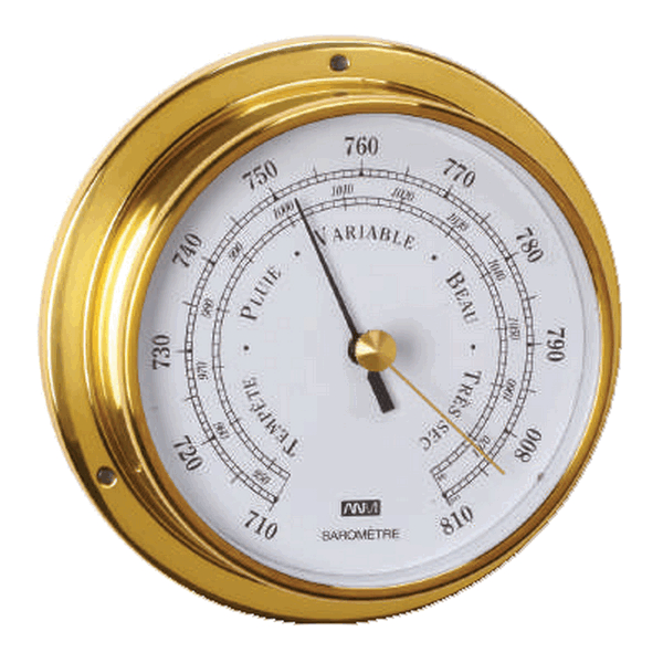 Aqua Marine Barometer 95mm Face Brass Finish
