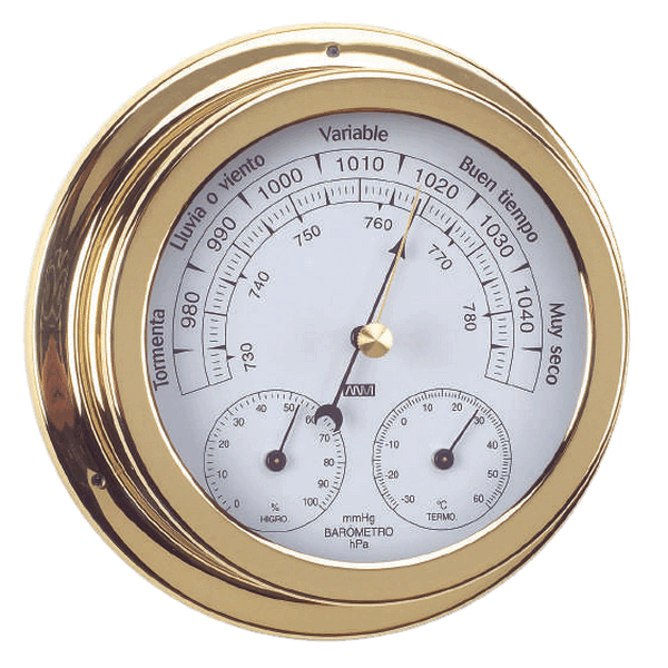 Aqua Marine Baro/Thermo/Hygrometer 120mm Face Brass Finish