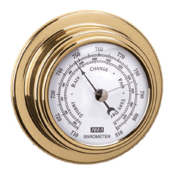 Aqua Marine Barometer 70mm Face Brass Finish
