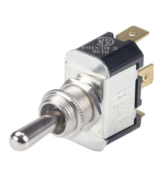BEP Nickel Pltd Brass Toggle Switch Sp/dt On(mom)/off/on (555025)