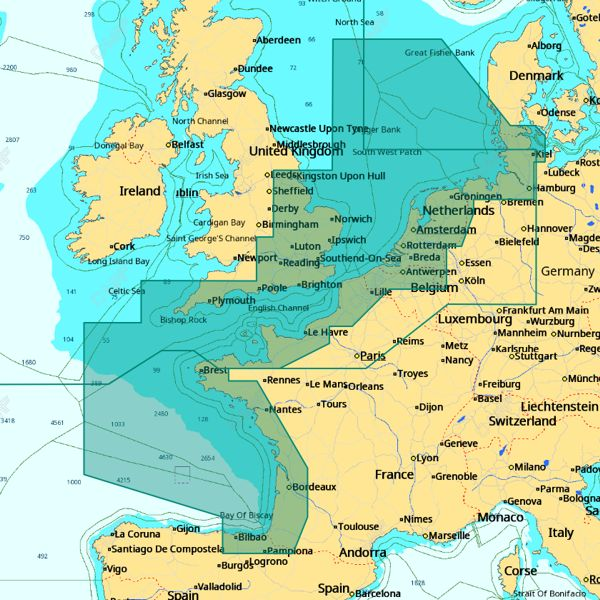 C-MAP 4D Wide Area - North West European Coasts