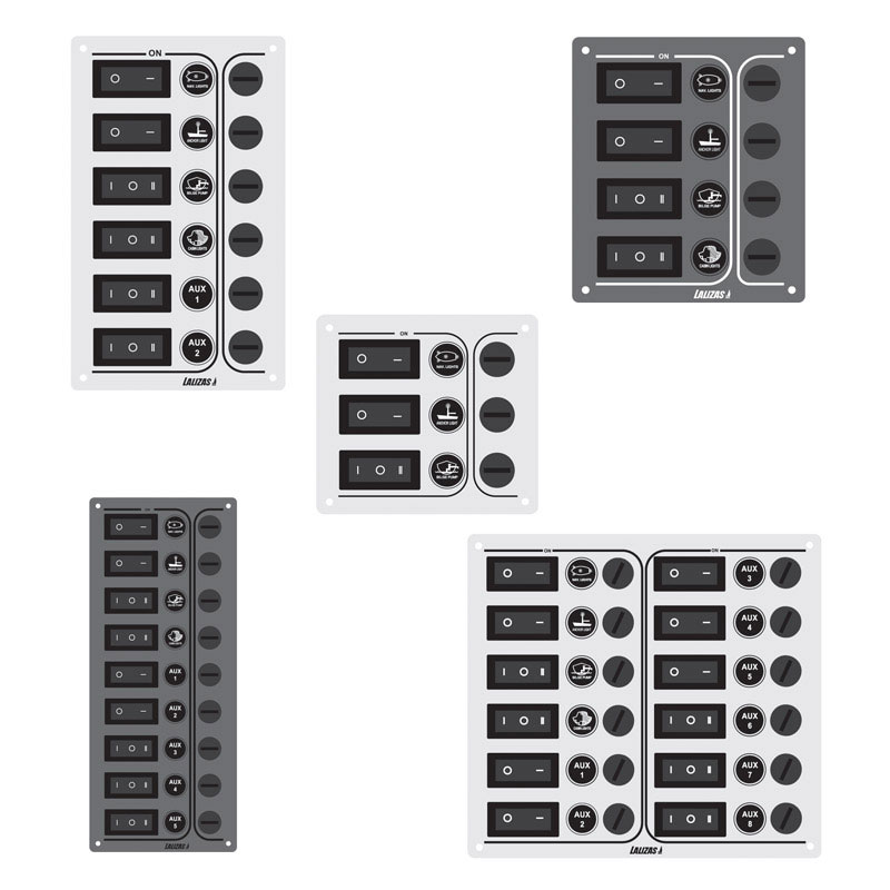 Switch Panel SP9 Ultra 9 Waterproof Switches. Inox 316. Charcoal. 12/24v