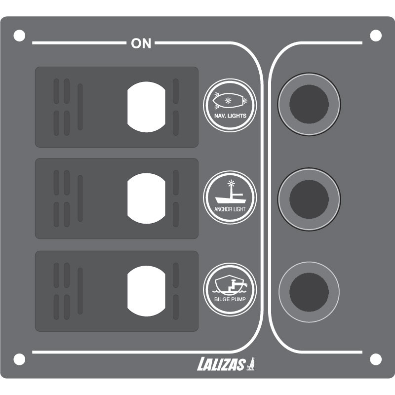 Switch Panel SP3 Offshore 3 Waterproof Switch w/led/3auto Fuses 12v - 120 x 110 x 1.5mm - Charcoal