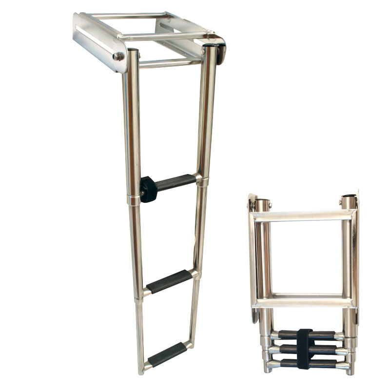 Platform Ladder. Telescopic. 3 Steps. Inox 316. 220x880mm