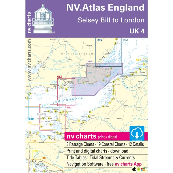 NV Charts UK 4 - NV. Atlas England - Selsey Bill to R. Thames
