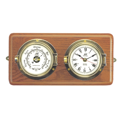 3 INCH CLOCK & BAROMETER ON HARD WOOD BOARD