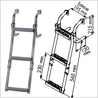 Plastimo Ladder For Narrow Transom - 3 Steps