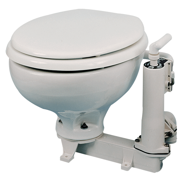 RM Toilet RM69 Manual Toilet Porcelain Bowl & White Wood Seat
