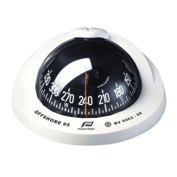 Plastimo Offshore 95 Compass White with Black Conical Card. Flush Mount